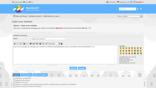 extension Username BBCode 1.0.4 pour le style proflat pour phpBB 3.2