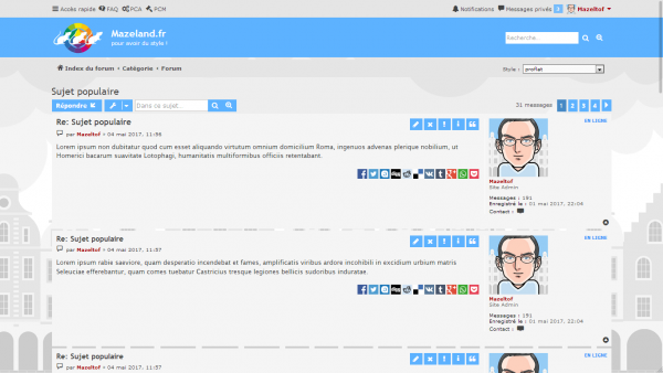 extension Share on pour le style proflat pour phpBB